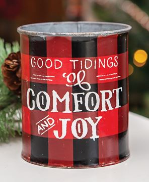 Picture of Good Tidings Christmas Buffalo Check Bucket