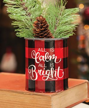 Picture of Calm and Bright Christmas Buffalo Check Bucket