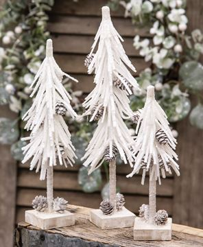 """Picture of White Glittered Pinecone Tree 8"""""""