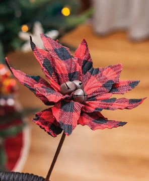 Picture of Buffalo Check Jingle Bell Poinsettia Stem 7""