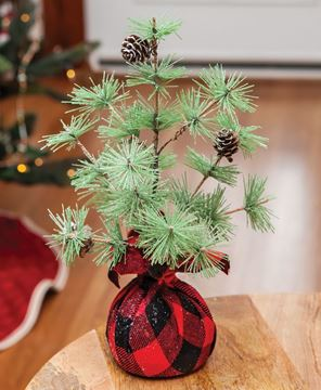 Picture of Buffalo Check Sparkle Pine Tree 12""