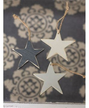 Picture of 3/Set Medium Wooden Star Ornaments