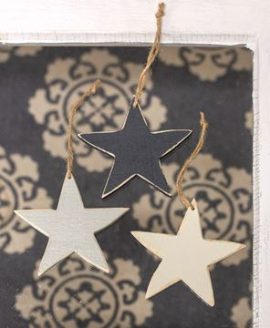 Picture of 3/Set Large Wooden Star Ornaments