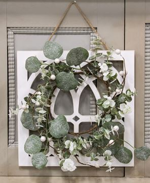 Picture of Distressed White Cathedral Window Hanger