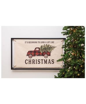 Picture of Christmas Buffalo Check Truck Fabric Sign