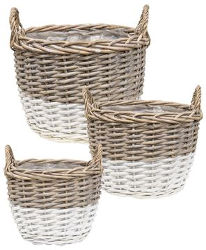 Picture of White Dipped Willow Gathering Basket Planters, 3/Set