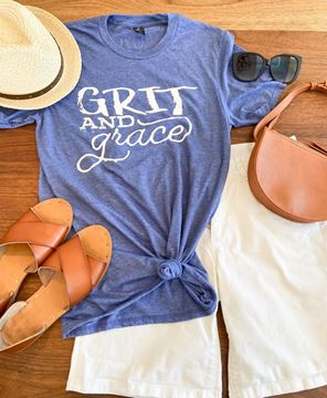 Picture of Grit and Grace T-Shirt, Heather Blue