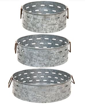 Picture of Olive Bucket Metal Trays, 3/Set