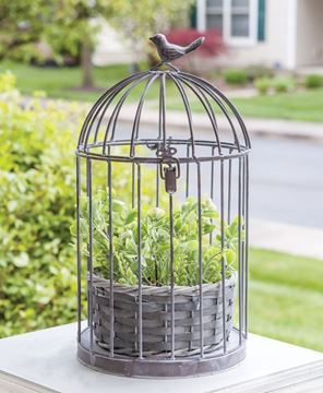 Picture of Graywash Metal Birdcage With Basket Planter