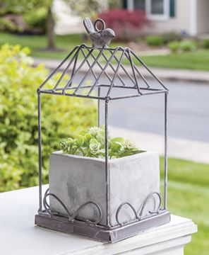 Picture of Graywash Metal Birdcage With Cement Planter