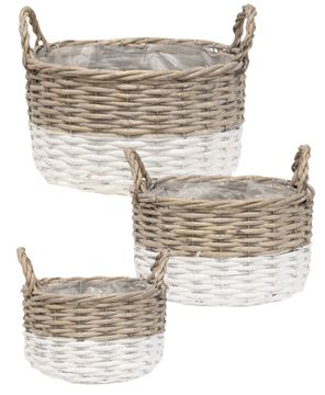 Picture of White Dipped Willow Bushel Basket Planters, 3/Set