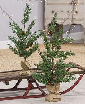 """Picture of 19"""" Pinecone Tree w/ Burlap Base"""