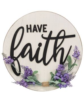 Picture of Have Faith Round Sign w/Lavender