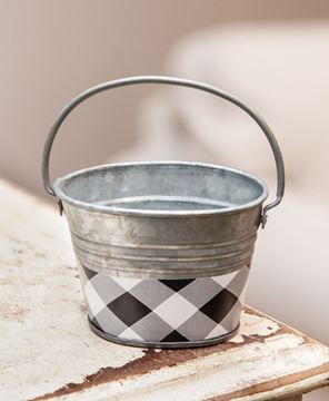 Picture of Black & White Buffalo Check Mini Oval Pail