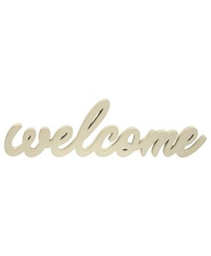 Picture of Hanging Ivory Script Welcome Sign