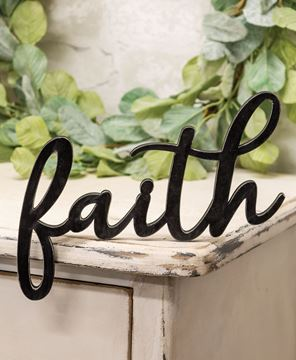 Picture of Hanging Black Script Faith Sign