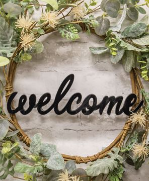 Picture of Hanging Black Script Welcome Sign