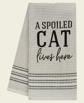 Picture of A Spoiled Cat Lives Here Dish Towel