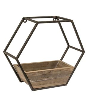 Picture of Wood & Metal Hexagon Wall Planter