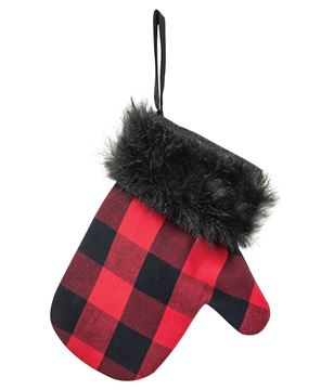 Picture of Black & Buffalo Check Mitten Gift Pocket