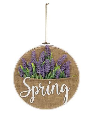 Picture of Spring Lavender Burlap Sampler Wall Hanger