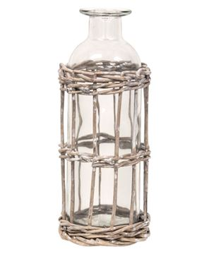 "Picture of Graywash Willow Wrapped Glass Bottle, 6.5""H"