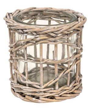 Picture of Graywash Willow Wrapped Glass Votive Holder