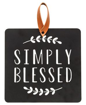 Picture of Simply Blessed Black Metal Cutout Plaque