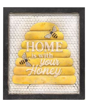 Picture of Home Is With Your Honey Framed Metal Sign