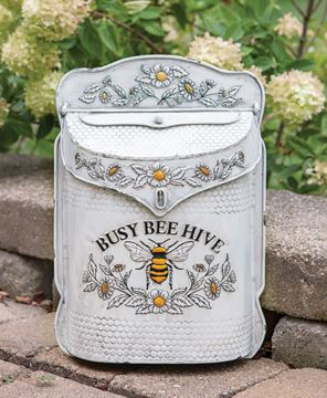 Picture of Busy Bee Hive Distressed Metal Post Box