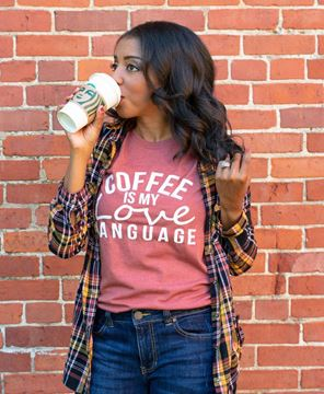 Picture of Coffee Is My Love Language T-Shirt, Heather Clay, XXL