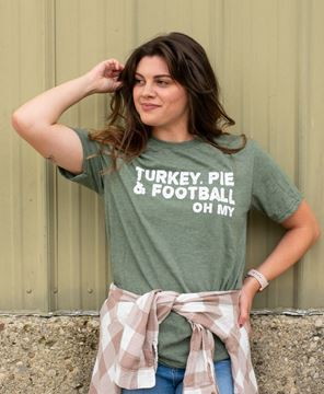 Picture of Turkey, Pie, and Football Oh My T-Shirt, XXL