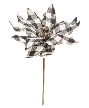 Picture of Black & White Buffalo Check Poinsettia Pick