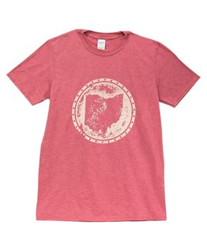 Picture of Distressed Ohio T-shirt, Heather Red