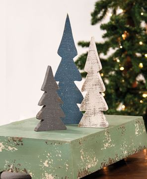Picture of Snowy Farmhouse Colors Wooden Trees, 3/Set
