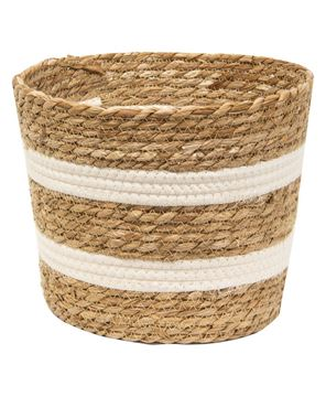 "Picture of Jute & Cotton Round Basket, 8""H"