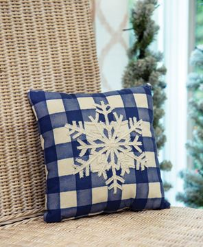Picture of Blue Check Snowfall Pillow