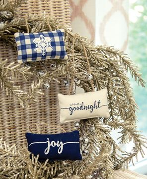 Picture of Blue Winter Pillow Ornaments, 3/Set