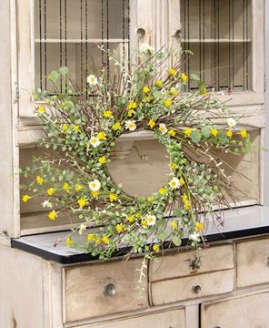 """Picture of Yellow Wildflowers Wreath, 22"""""""