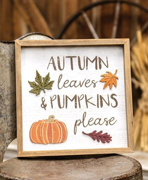 Picture of Autumn Leaves & Pumpkins Please Distressed Wooden Frame
