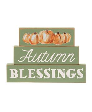 Picture of Autumn Blessings Pumpkin Stacked Blocks, 3/Set