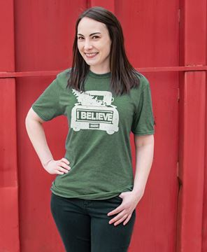 Picture of I Believe Tee,  Heather Dark Green XXL