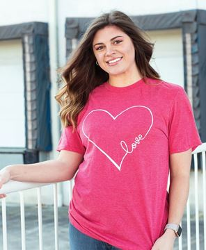 Picture of Love Heart T-Shirt, Heather Red XXL