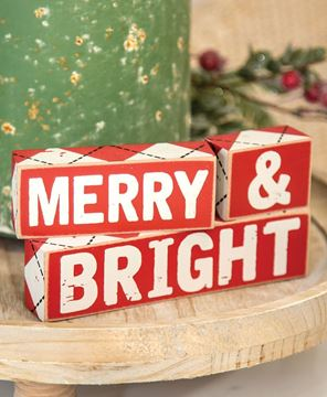 Picture of Merry & Bright Wooden Blocks, 3/Set