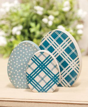 Picture of Chunky Blue Patterned Egg Sitters, 3/Set
