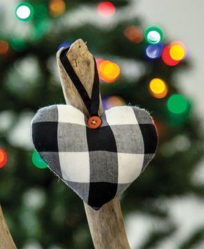 Picture of Black & White Buffalo Check Heart Ornament