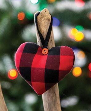 Picture of Red & Black Buffalo Check Heart Ornament
