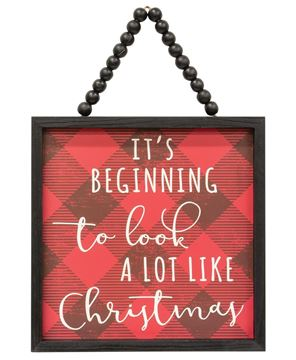 Picture of It's Beginning to Look a Lot Like Christmas Buffalo Check Beaded Sign