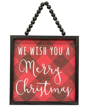 Picture of We Wish You a Merry Christmas Buffalo Check Beaded Sign